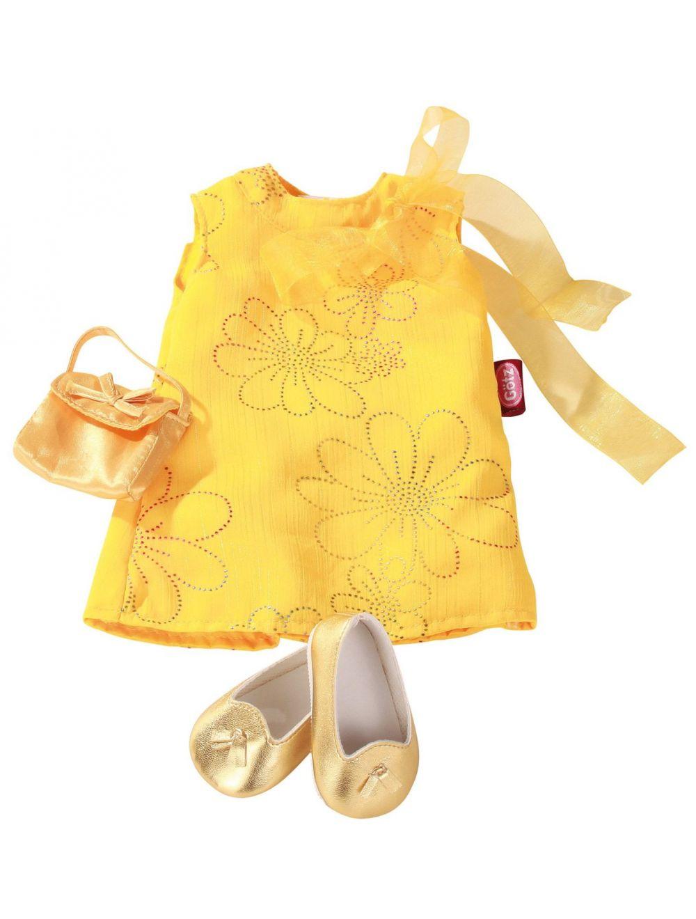 kollane kleit, kuldne kott ja kingad 45-50 cm