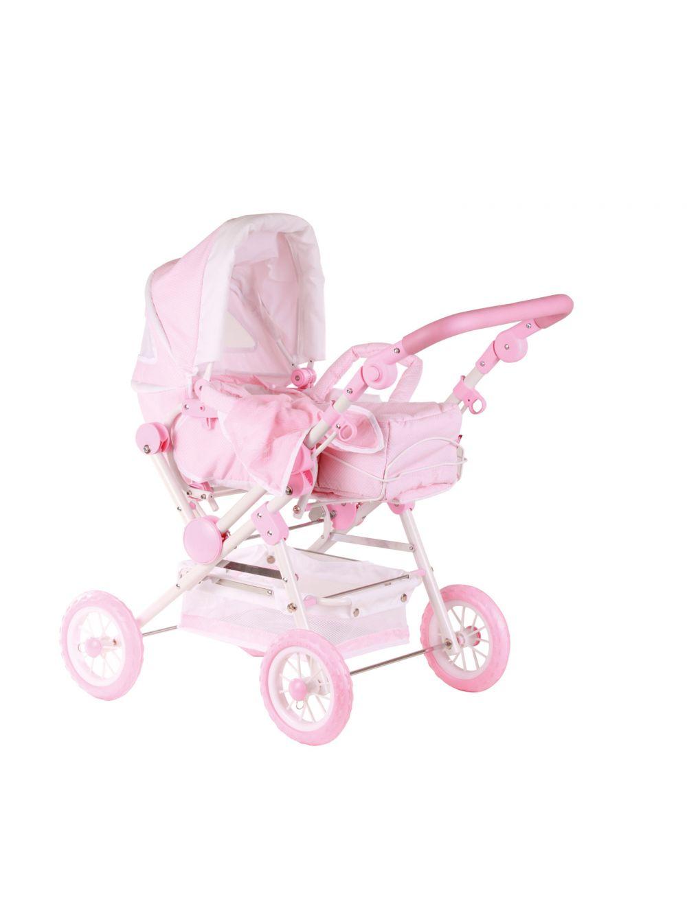 Nukuvanker-käru 4-rattaline roosa-valge