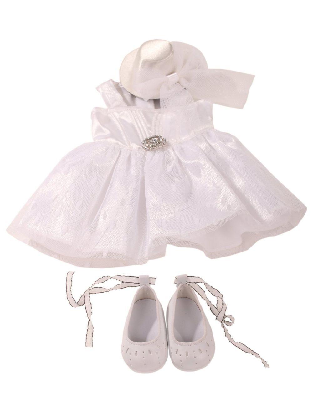 Pidulik komplekt whiteness - kleit, kübar, kingad 45-50 cm