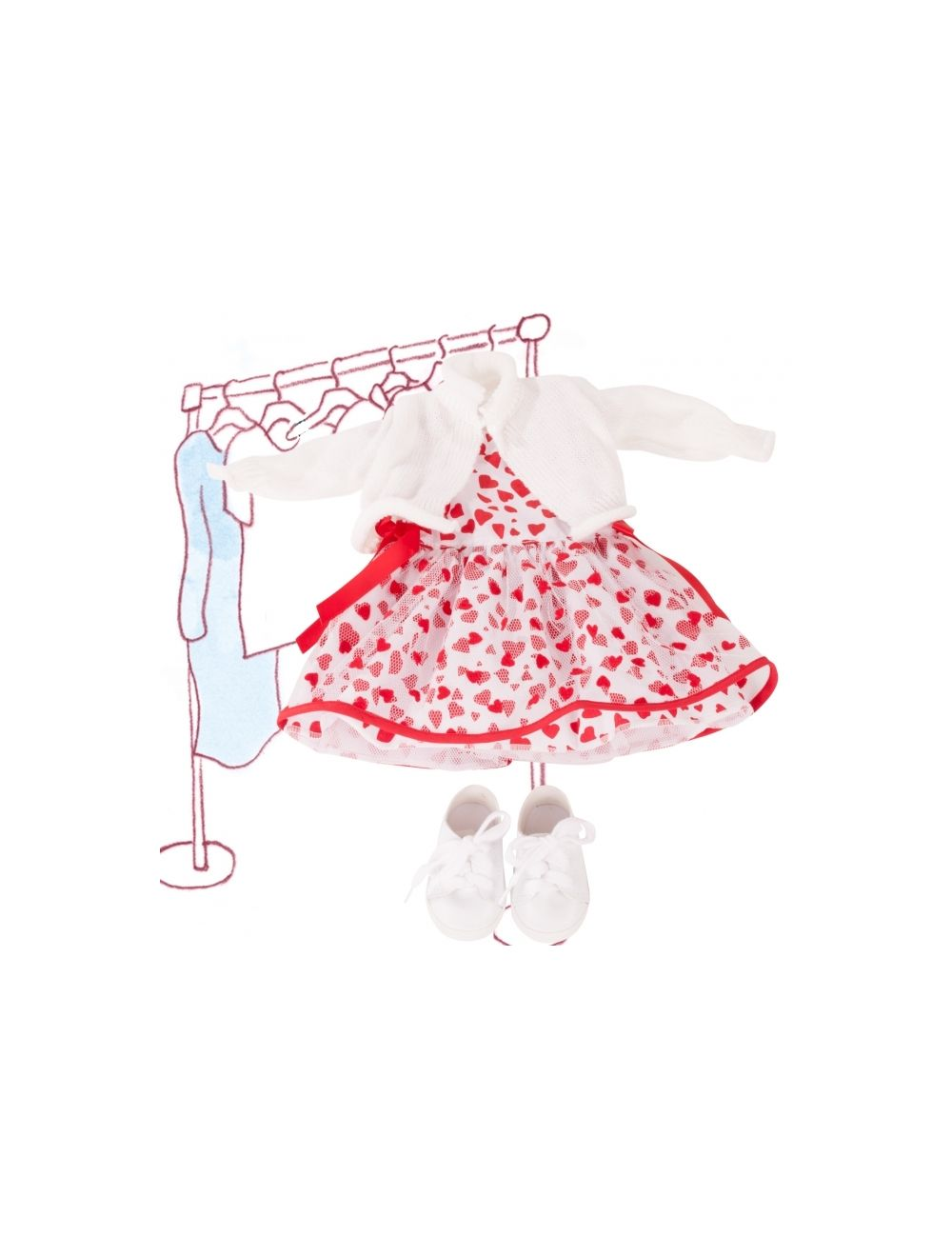kleit südametega, kootud jakk ja tennised 45-50 cm